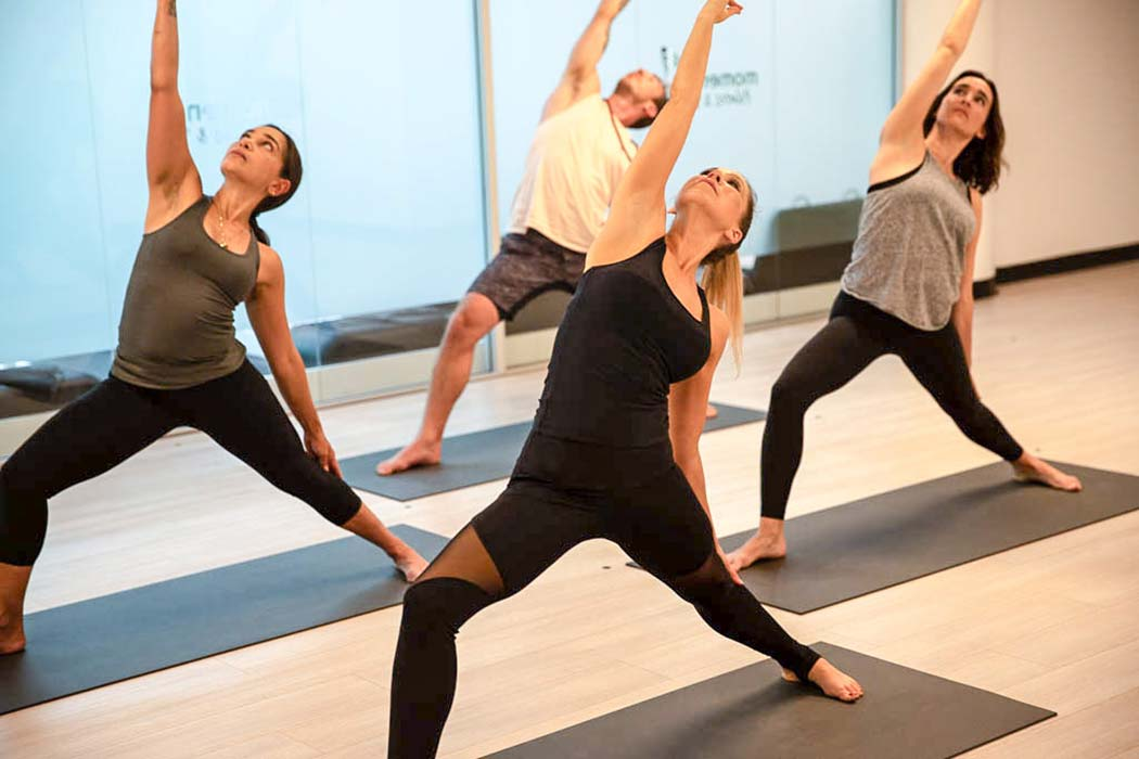 Some of our yoga teachers doing a class in Castle Hill